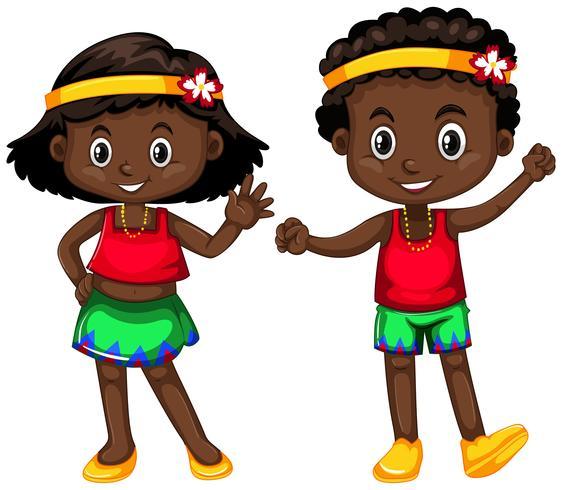 Papua Nya Guinea pojke och flicka på vit bakgrund