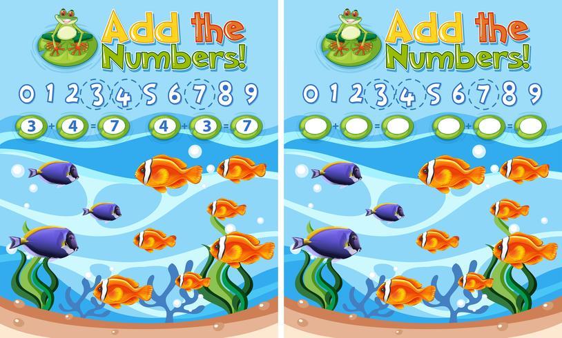 Add the numbers underwater reef