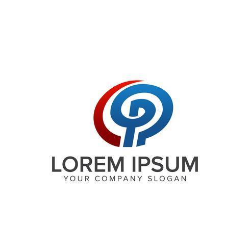 brev p logo design koncept mall