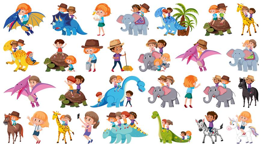 Set of children riding animals vector