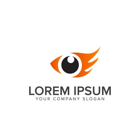 Plantilla de concepto de diseño de logotipo ojo pájaro. logo de ojo pez vector