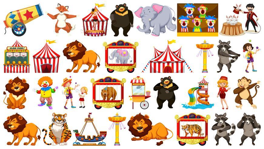 Sats med cirkusobjekt