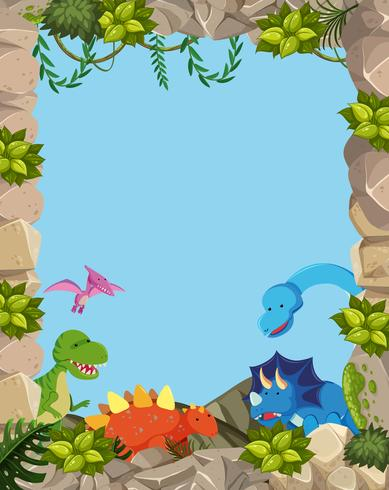 Natuur schattig dinosaurus frame
