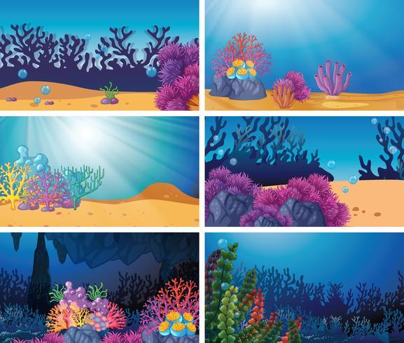 Conjunto de cena subaquática vetor