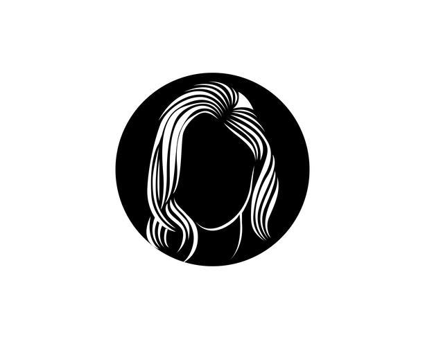 hårkvinna och ansiktslogo och symboler