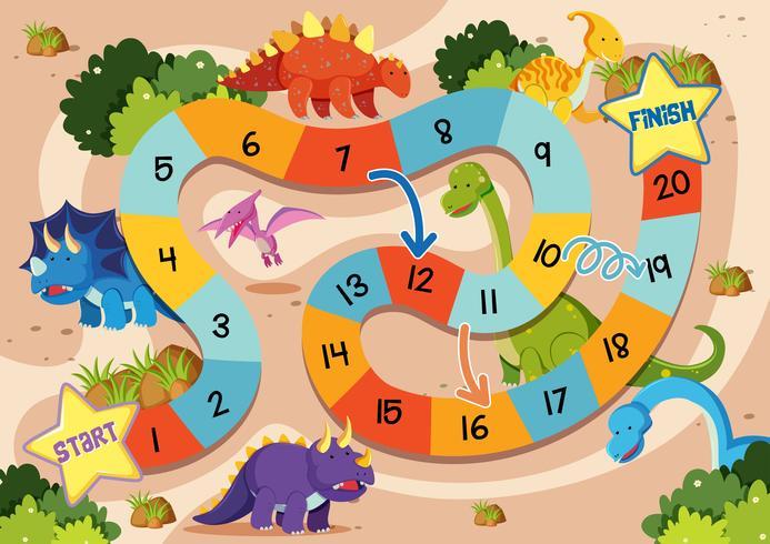 Modelo de jogo de tabuleiro de dinossauro plana