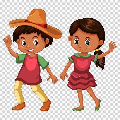 Ragazzo messicano e ragazza in costume