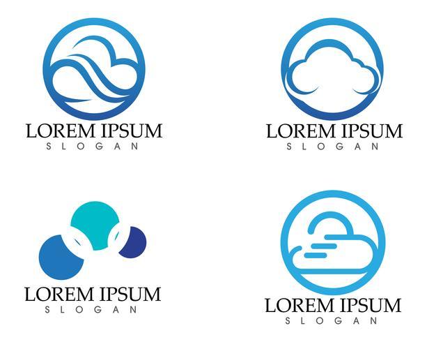 Iconos del diseño del ejemplo del vector de la plantilla del logotipo de la nube