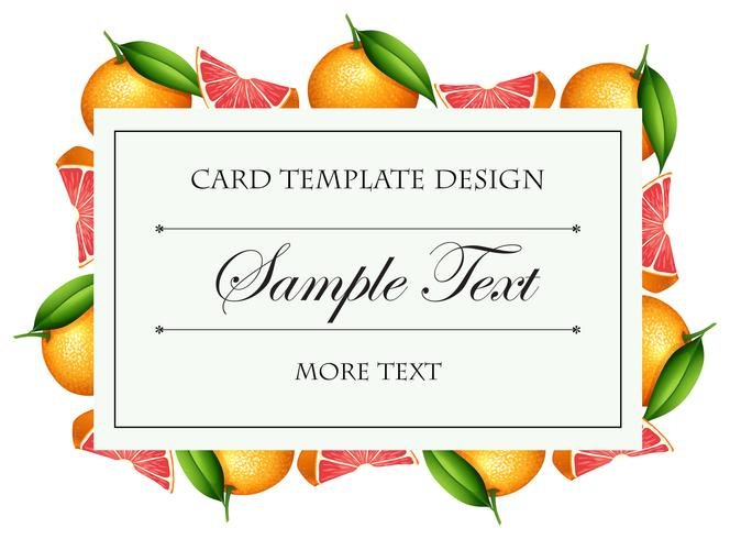 Card template with grapefruit border