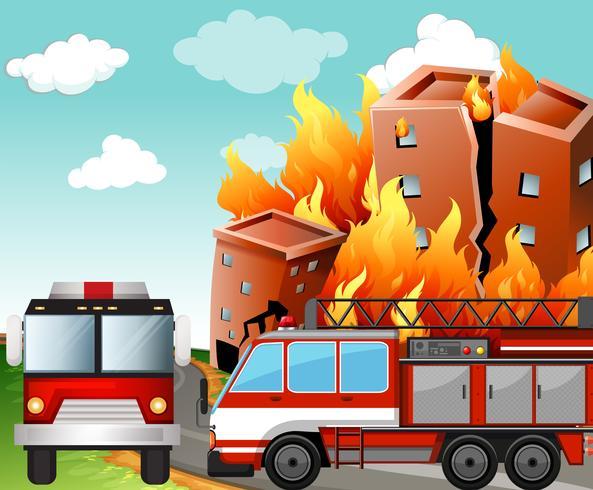 Brandbilar på eldplatsen