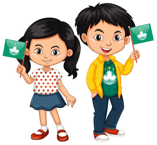Boy and girl holding flag of Macau