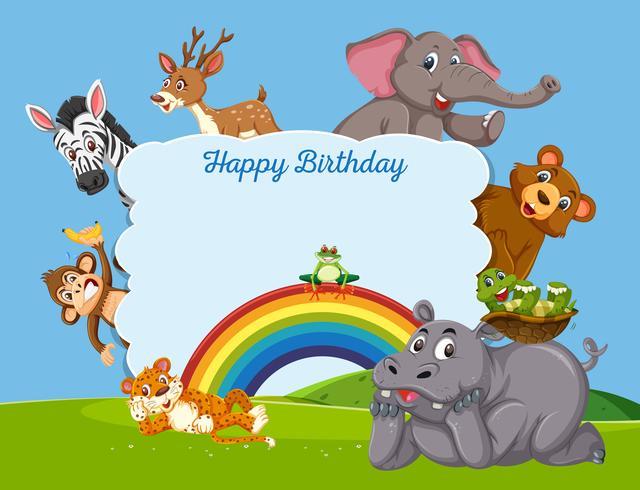 Vilt djur på födelsedagsmall