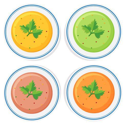 Verschillende soorten soep in kommen
