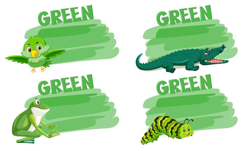 Uppsättning av gröna djur begrepp