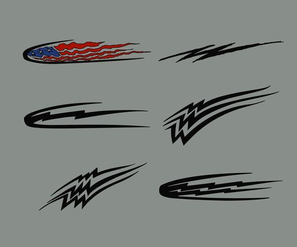 Gráficos de veículo de corrida de motocicleta de carro, vinis tribais e decalques vetor