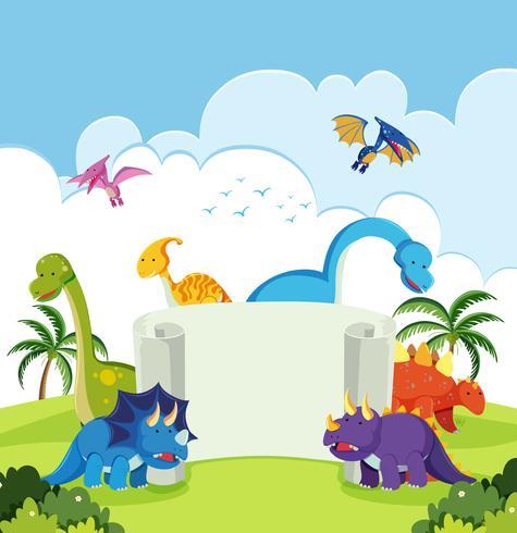 Dinossauro na bandeira da natureza