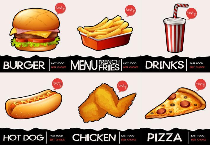 Diferentes tipos de comida rápida en el menú. vector
