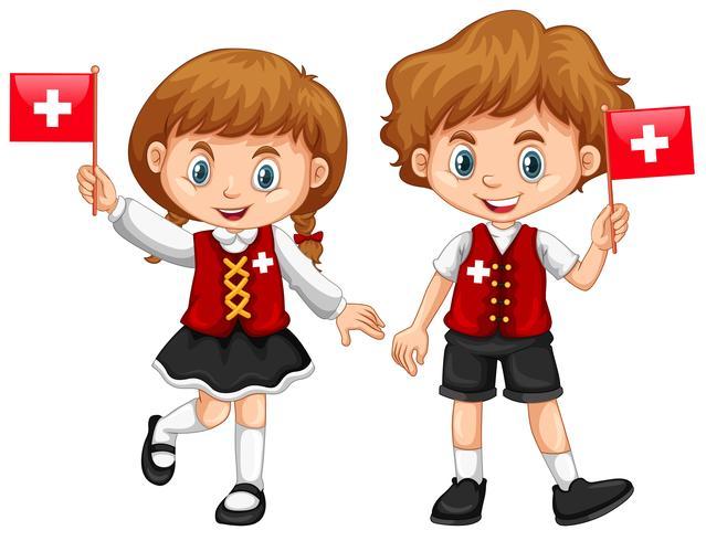 Jongen en meisje met de vlag van Zwitserland