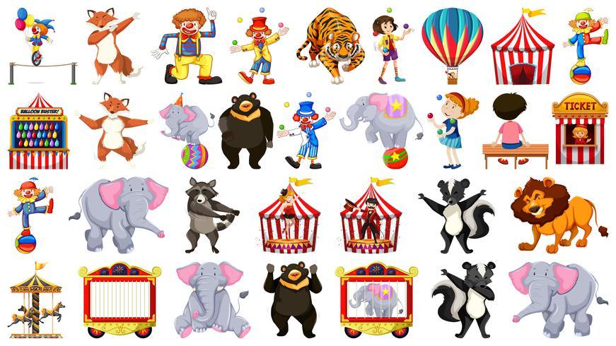 Conjunto de elementos de circo. vector
