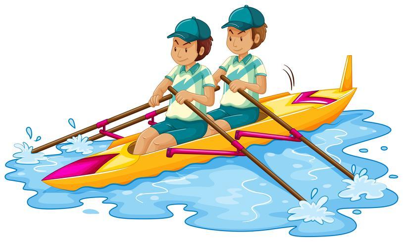 Man kanot på vit bakgrund vektor