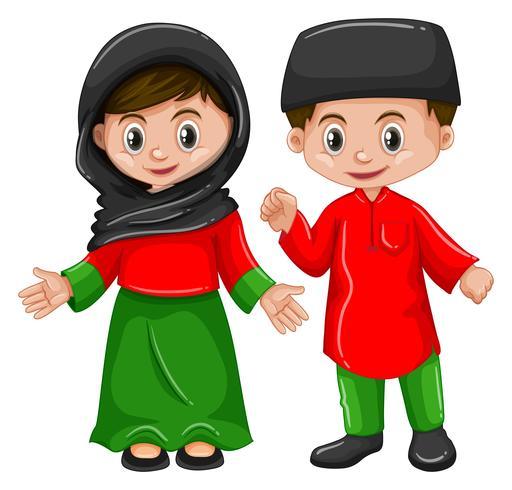 Afganistán niño y niña en traje tradicional