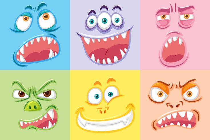 Set med olika monster ansikte