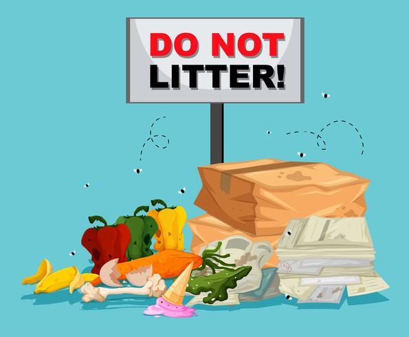 Non gettare rifiuti con molta spazzatura al di sotto vettore