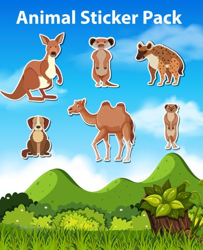 Set of wild animal sticker