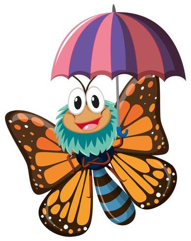 Fjärilskaraktär som håller paraply