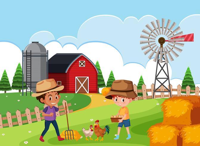 Agricoltore in terreni agricoli
