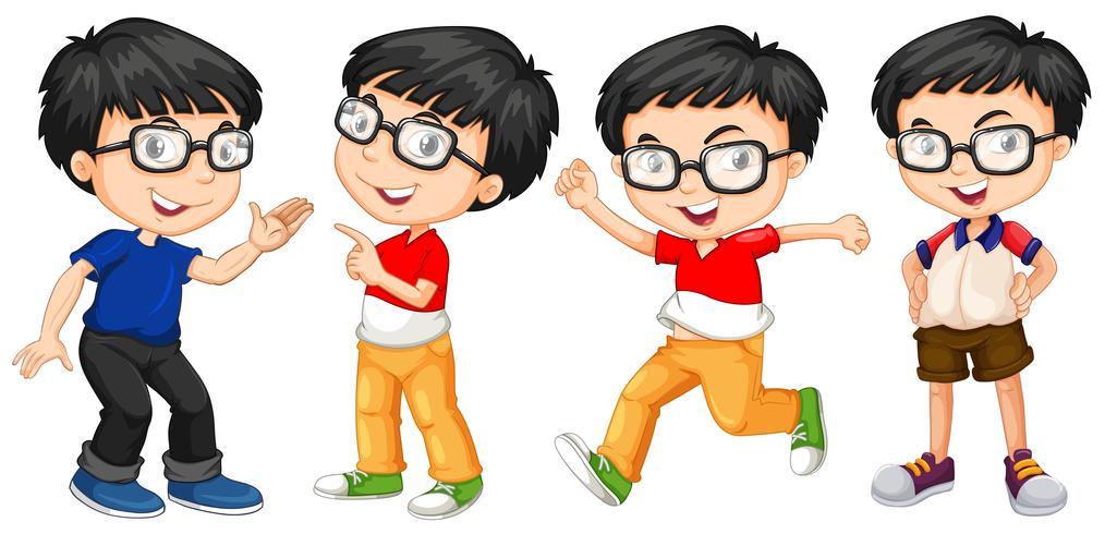 Garçon à lunettes en quatre actions