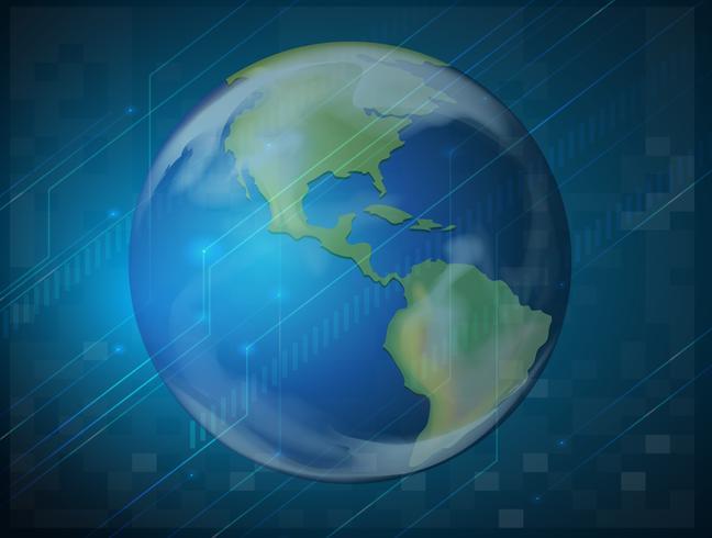 Planet jorden på blå bakgrund