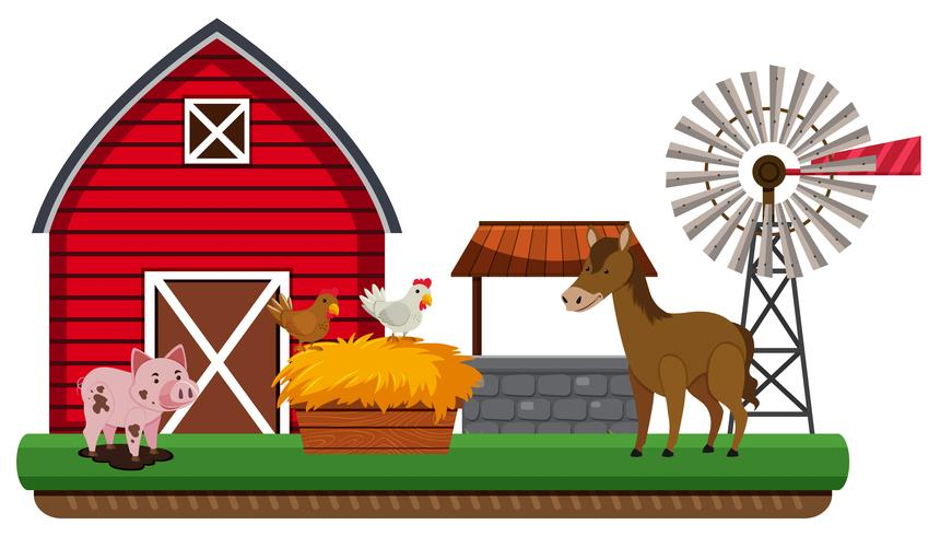 Animals and farm landscape vector