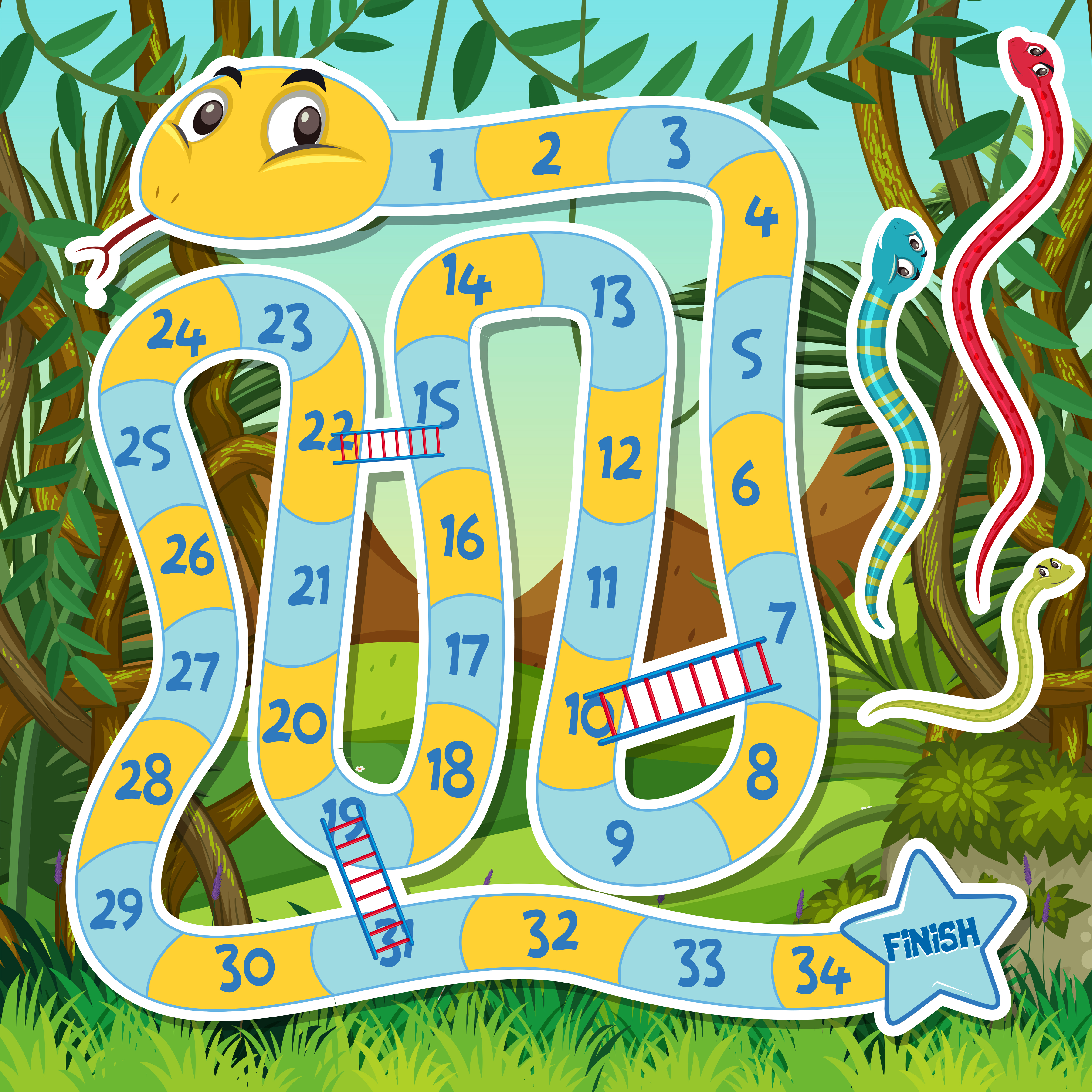 Printable Snakes and Ladders Game   Snakes and ladders, Ladders game, Snakes  and ladders printable
