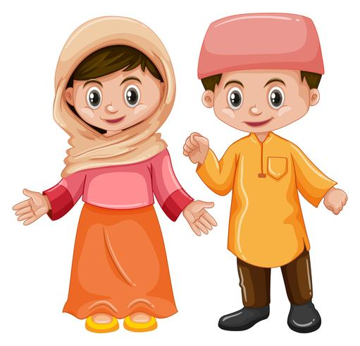Afghanistan boy and girl with happy face