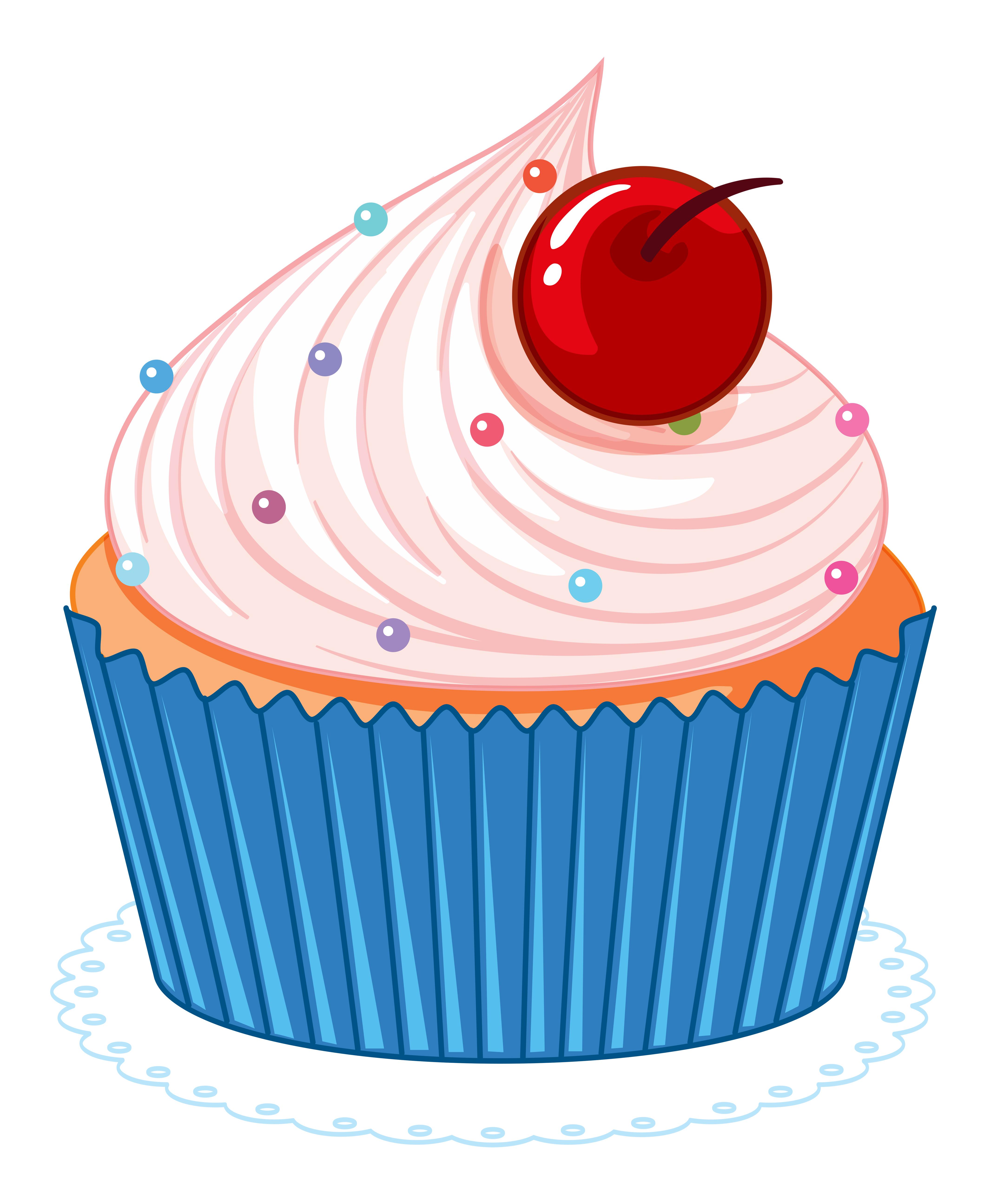Cute pink cartoon cupcake - Download Free Vectors, Clipart ...