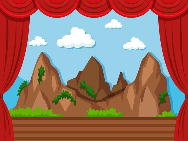 Fundo de palco com montanha e grama