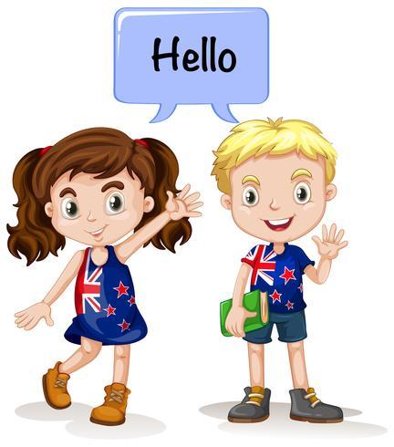 Australiensisk pojke och tjej säger hej