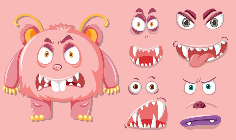 Pink monsater with different facial expression vector