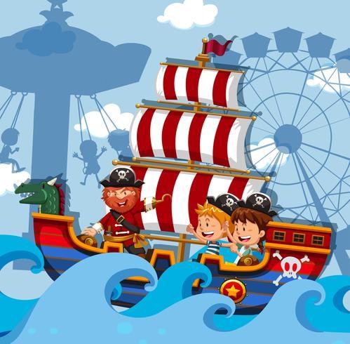 Scène met kinderen op Vikingschip