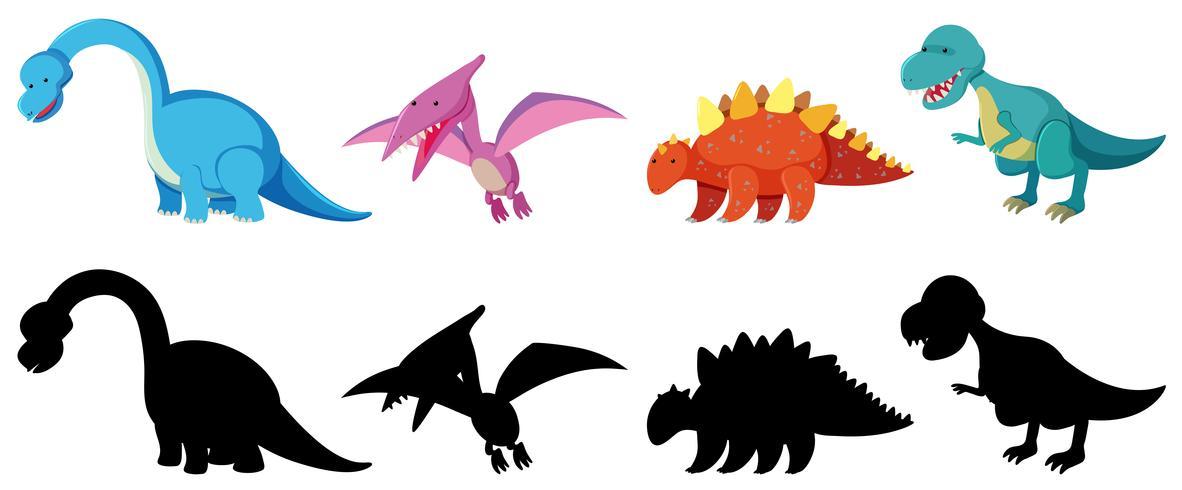 Set of dinosaur character vector
