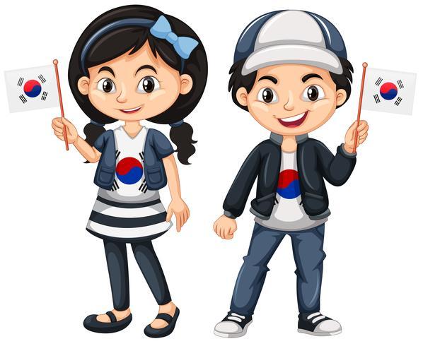 Corea del sur niño y niña con banderas
