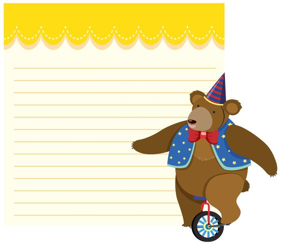 Bear riding unicycle note template