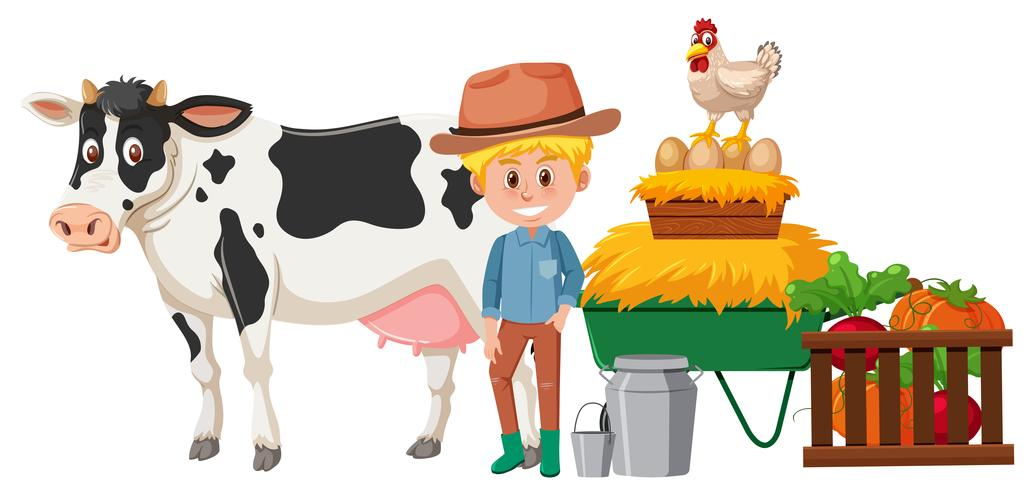 Un contadino e un animale felici