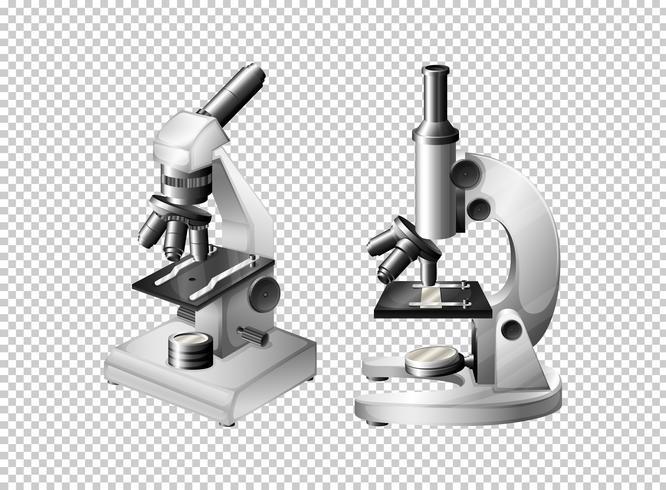 Due microscopi su sfondo trasparente