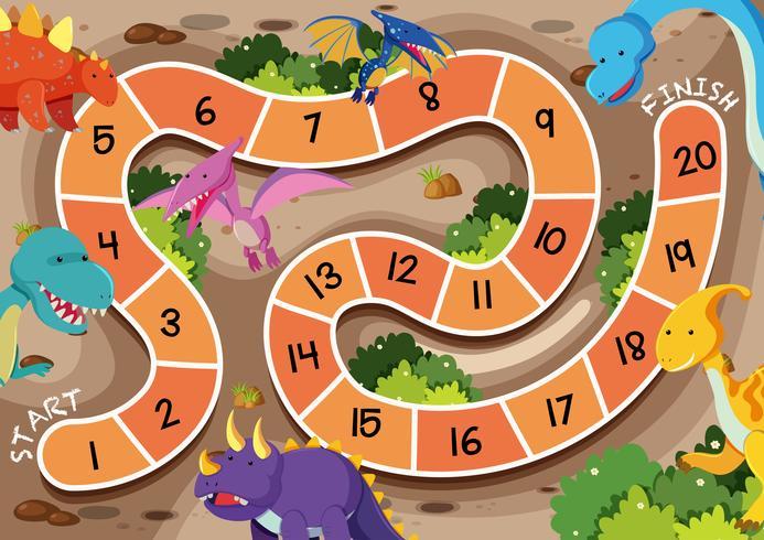 Una plantilla de juego de mesa de dinosaurio