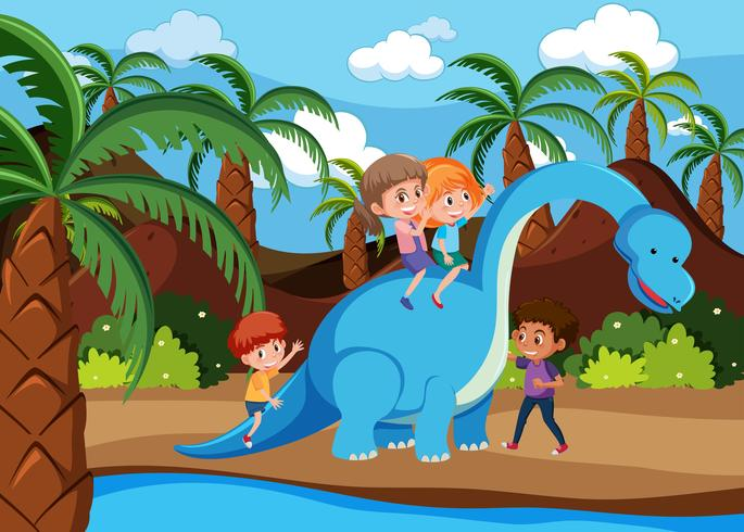 Bambini che giocano con i dinosauri