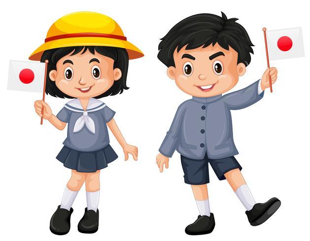 Japanisches Mädchen und Junge, die Flagge hält vektor