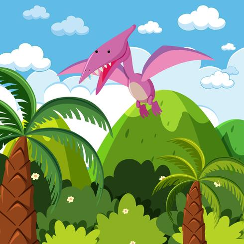 A dinosaur flying in nature
