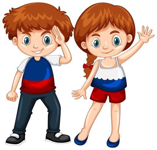 Lindo niño y niña agitando las manos vector